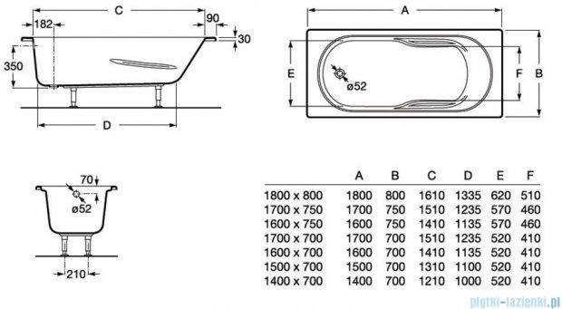 Roca Genova N wanna 150x70cm z hydromasażem Smart WaterAir Plus Opcja A24T354000