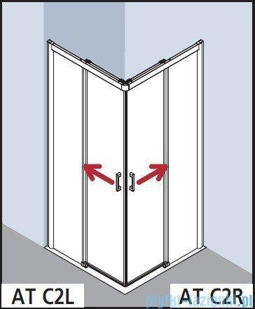 Kermi Atea Wejście narożne prawe, połowa kabiny, szkło przezroczyste KermiClean, profile srebrne 90x185cm ATC2R09018VPK