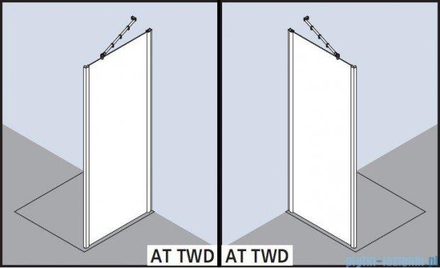 Kermi Atea Ściana boczna, szkło przezroczyste, profile białe 90x200cm ATTWD090202AK