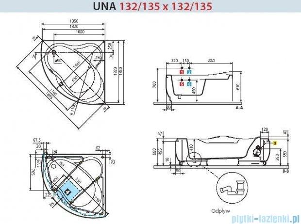 Novellini Wanna UNA ze stelażem 135x135 UNA2135135C-A0