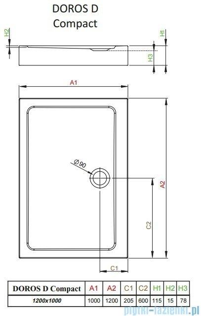 Radaway Doros D Compact brodzik prostokątny 120x90cm SDRD1290-05