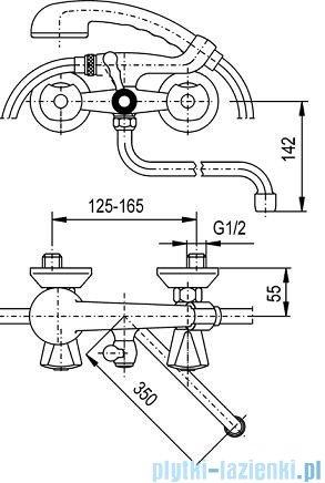 KFA CERAMIK Bateria wannowo-umywalkowa ścienna chrom 334-112-00