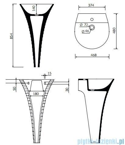 Marmorin Cascada umywalka przyścienna z otworem 46x48 biała P724047020011