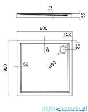 Schedpol Brodzik kwadratowy Caspar 90x90x5,5cm 3.261