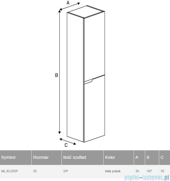 New Trendy Koda słupek wiszący 35x167 cm prawy biały połysk ML-EL035P