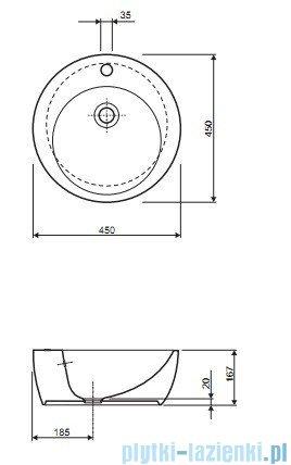 Koło Punto Umywalka 45cm nablatowa K21645000