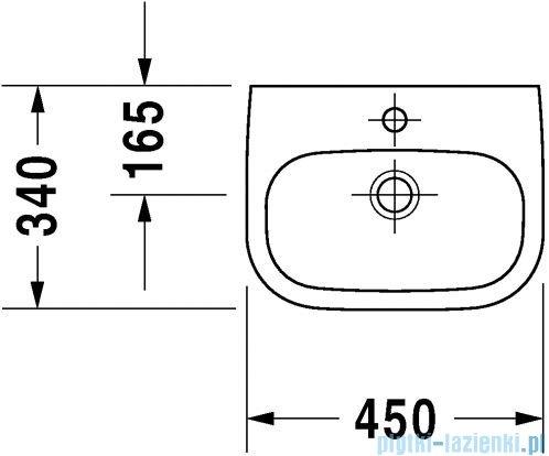 Duravit D-Code umywalka mała z przelewem z półką na baterię 450x340 mm 070545 00 02