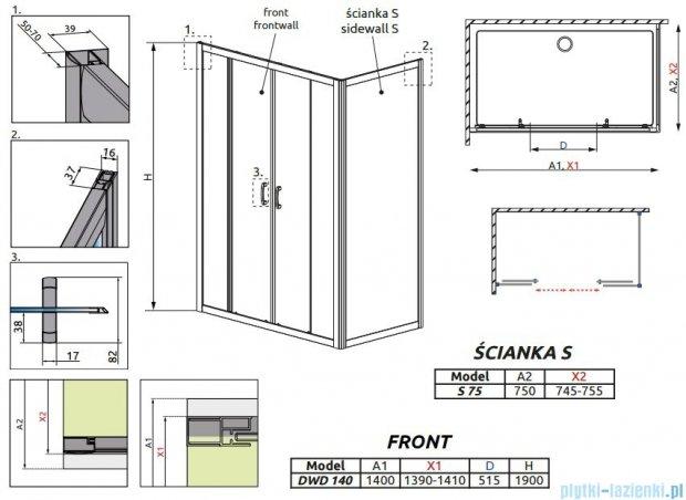 Radaway Premium Plus DWD+S kabina prysznicowa 140x75cm szkło przejrzyste 33353-01-01N/33402-01-01N