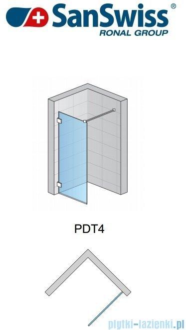 SanSwiss Pur PDT4 Ścianka wolnostojąca 100-160cm profil chrom szkło Satyna Lewa PDT4GSM31049
