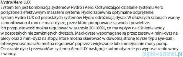Riho Geta Wanna asymetryczna 170x90 prawa z hydromasażem LUX Hydro 4+4+2/Aero11 BA88L8