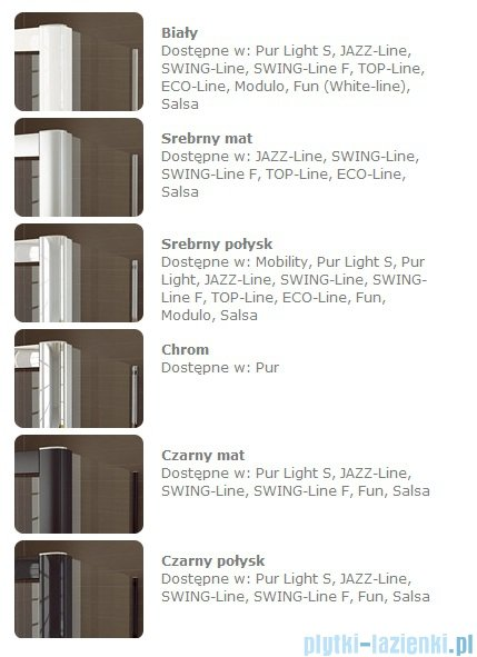 SanSwiss Swing Line SLB1 Parawan 1-częściowy 75cm profil srebrny Prawy SLB1D07500107