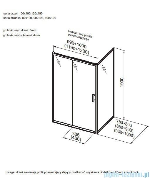 Aquaform Supra Pro ścianka kabinowa 90cm przejrzyste 103-09326