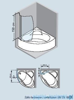 Novellini Parawan wannowy AURORA 8 do wanny UNA 98x150cm profil chrom szkło przezroczyste AURORA8-1K