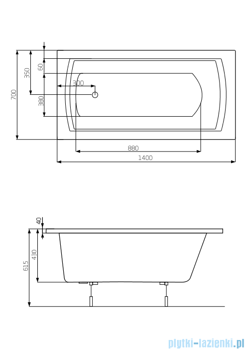 Roca Linea wanna 140x70cm z hydromasażem Effects Gold A24T007000