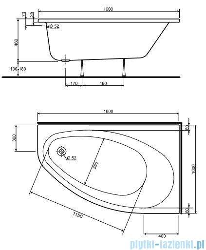Koło Elipso Wanna asymetryczna 160x100cm Prawa XWA0660
