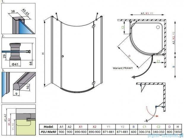 Radaway Torrenta PDJ kabina półokrągła 90x90 prawa szkło grafitowe + Brodzik Delos A + Syfon 31800-01-05N