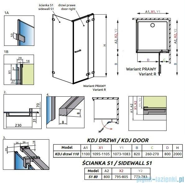 Radaway Euphoria KDJ Kabina prysznicowa 110x80 prawa szkło przejrzyste 383041-01R/383051-01