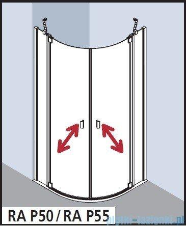 Kermi Raya Kabina ćwierćkolista, drzwi wahadłowe, szkło przezroczyste KermiClean, profile srebrne 100x100x200 RAP5510120VPK