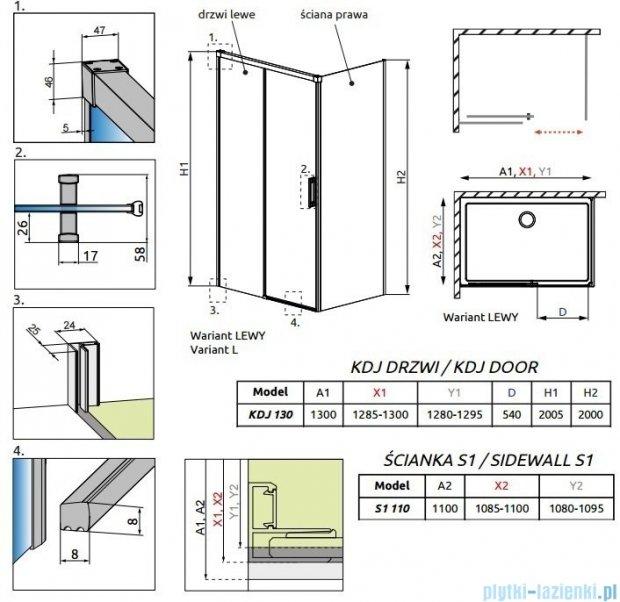 Radaway Idea Kdj kabina 130x110cm lewa szkło przejrzyste 387043-01-01L/387053-01-01R