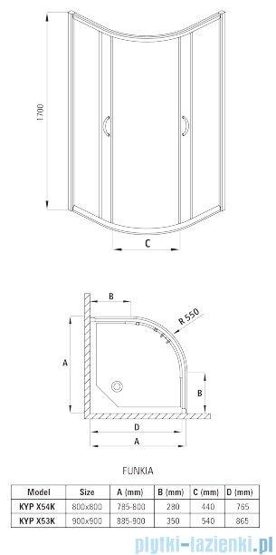 Deante Funkia kabina półokrągła czteroszybowa niska 80x80x170 cm szkło mrożone KYP 654K