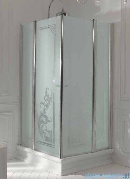 Kerasan Kabina kwadratowa szkło dekoracyjne piaskowane profile brązowe 100x100 Retro 9148P3