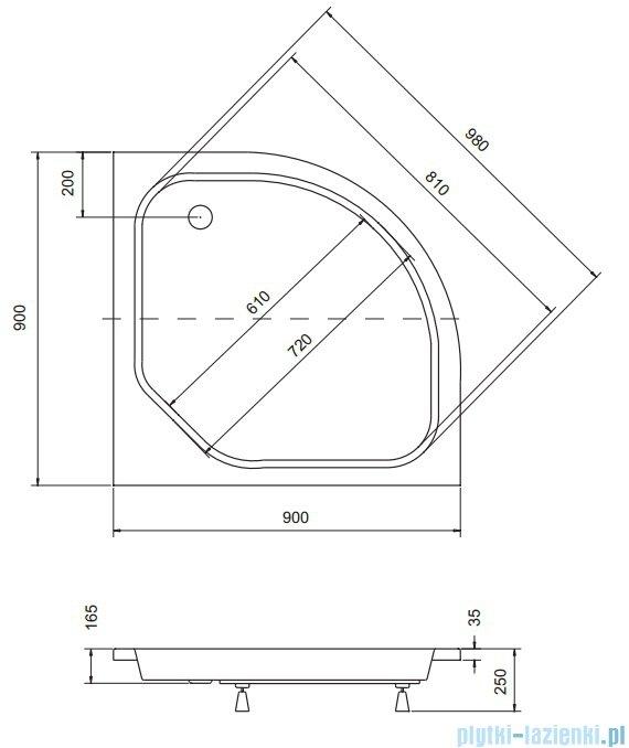 Sea Horse Sigma zestaw kabina natryskowa półokrągła - niska, 90x90 grafitowe + brodzik BKZ2/3/KG