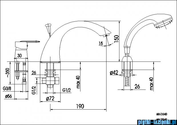 KFA Cyrkon bateria wannowa trójotworowa, kolor decorum 585-230-00