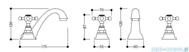 Kerasan Bateria umywalkowa 3-otworowa Retro brązowa 739193