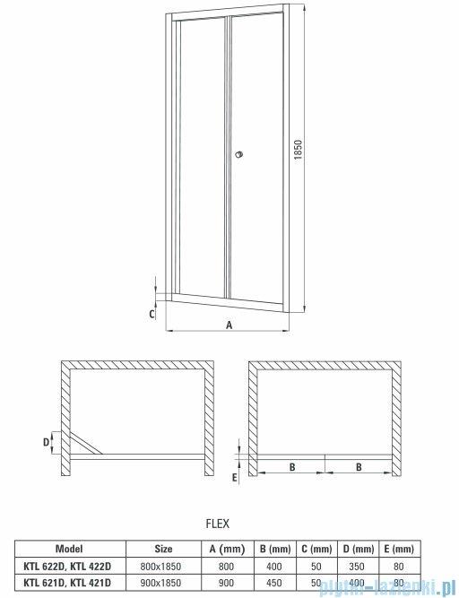 Deante Flex drzwi wnękowe składane grafit 80x185 cm KTL 422D
