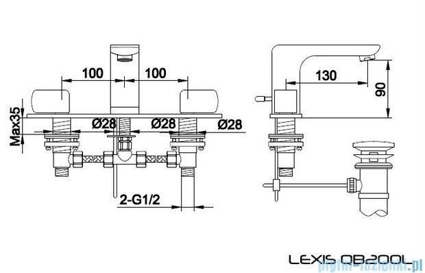 Kohlman Lexis 3-otworowa bateria umywalkowa QB200L