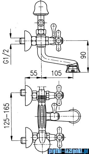 KFA Retro bateria wannowa, kolor chrom-złoto 374-145-03