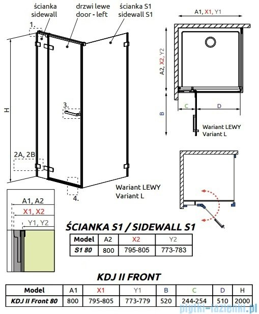 Radaway Arta Kdj II kabina 80x80cm lewa szkło przejrzyste 386420-03-01L/386040-03-01L/386020-03-01