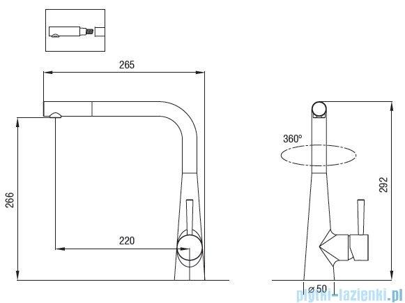 Art Platino Miros bateria kuchenna z wyciąganą wylewką chrom 5901730613254