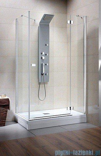 Radaway Kabina prysznicowa Fuenta KDJ 80x100 prawa szkło przejrzyste + Brodzik Argos D + syfon 381050-01R