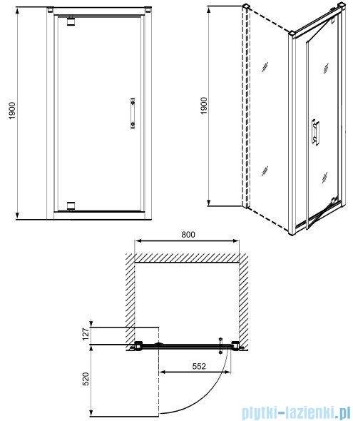 Koło Geo 6 drzwi 80cm wnękowe pivot GDRP80205003