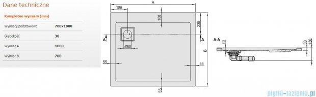 Sanplast Space Line brodzik prostokątny 100x70x3 cm + syfon 615-110-0620-01-000