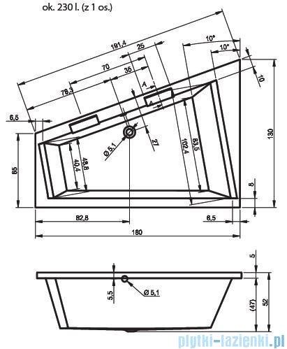 Riho Doppio Wanna narożna 180x130 cm Prawa + nogi + syfon BA90/09/AMC55