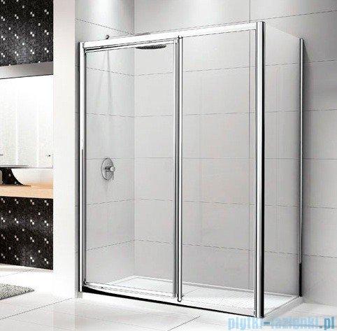 Novellini Drzwi prysznicowe LUNES G+F 132 cm szkło przejrzyste profil srebrny LUNESGF132-1B