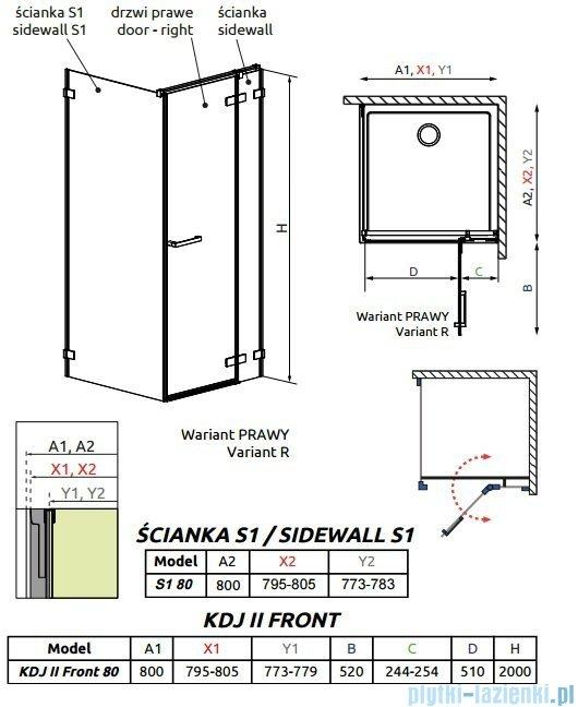 Radaway Arta Kdj II kabina 80x80cm prawa szkło przejrzyste 386420-03-01R/386040-03-01R/386020-03-01