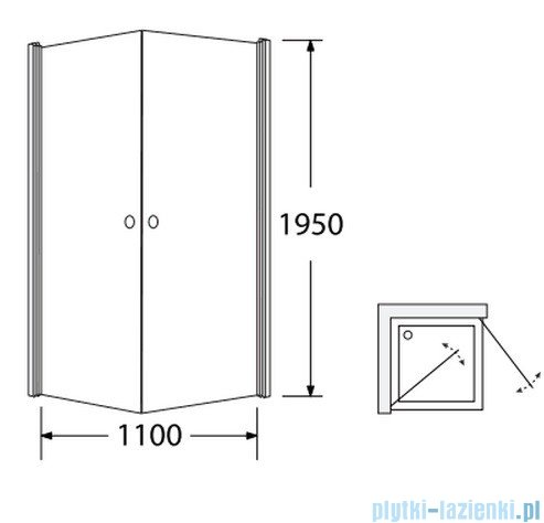 Sea Horse Fresh Line kabina natryskowa narożna, kwadratowa, 90x90x195cm przejrzyste/lustro BK122PTLL