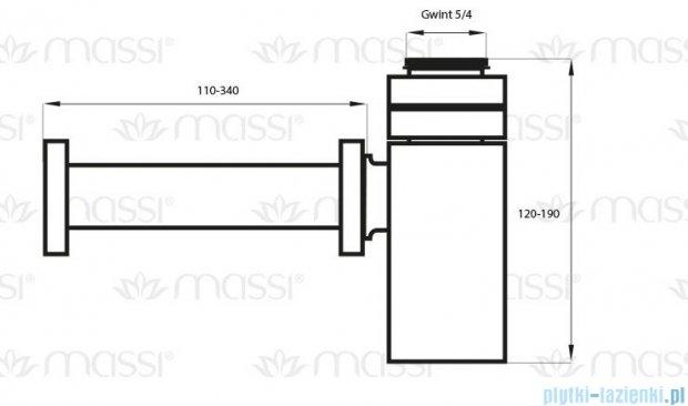 Massi Półsyfon kwadratowy chrom MSA-PM-01