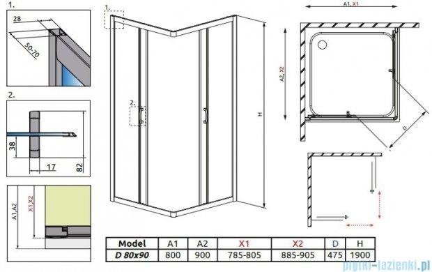 Radaway Premium Plus D Kabina prostokątna 80x90 szkło przejrzyste 30437-01-01N