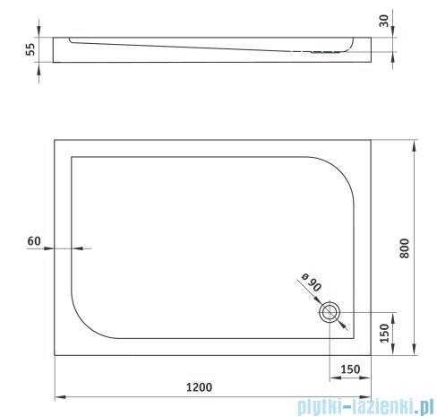 Deante Cubic brodzik prostokątny 80x120 cm biały KTK 044B