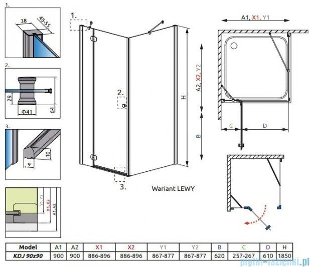 Radaway Torrenta Kdj kabina kwadratowa 90x90 lewa szkło carre 32202-01-10NL