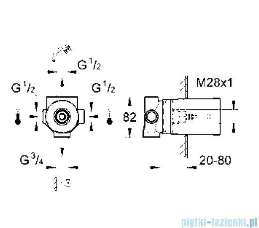 Grohe przełącznik czterodrożny element do zabudowy podtynkowej DN 15 29707000