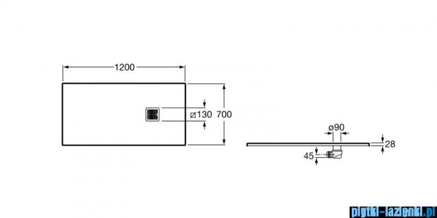 Roca Terran 120x70cm brodzik prostokątny konglomeratowy off white AP014B02BC01090