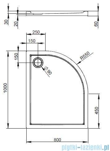 Radaway Brodzik półokrągły Tasos E 100x80 Lewy STE1086-30L