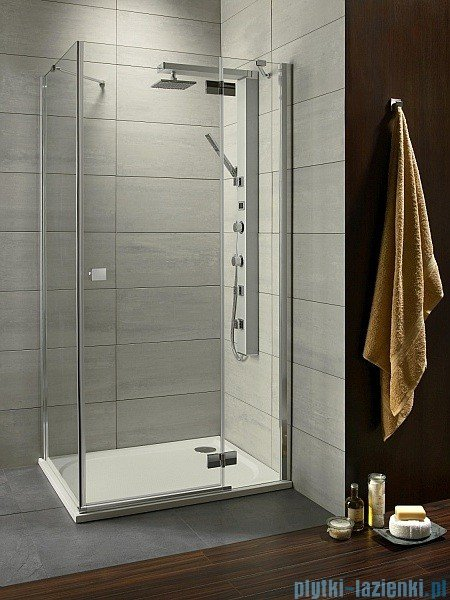 Radaway Kabina prysznicowa Almatea Kdj 100x100 prawa szkło przejrzyste + brodzik Delos C + syfon 32150-01-01NR