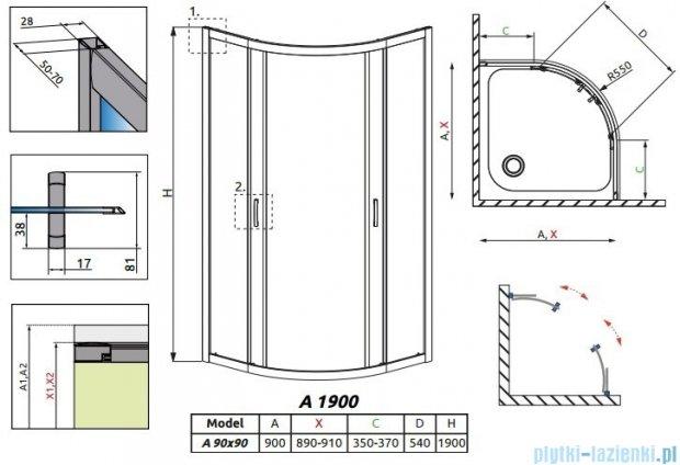 Radaway Premium Plus A Kabina półokrągła 90x90 szkło przejrzyste 30403-01-01N