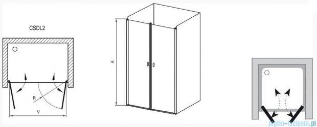 Ravak Chrome Drzwi prysznicowe podwójne CSDL2-120 satyna+transparent 0QVGCU0LZ1